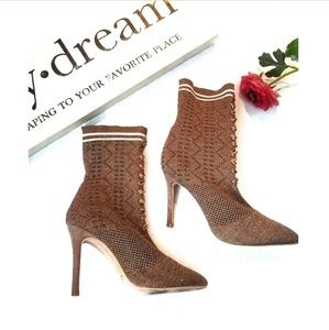ROUGE Tan Glitter Lace Pointy Sock Booties Boots